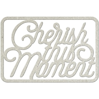 Picture of FabScraps Die-Cut Gray Chipboard Word - Cherish the Moment