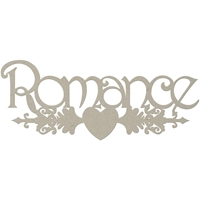 Picture of FabScraps Die-Cut Gray Chipboard Word - Romance