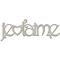 Picture of FabScraps Die-Cut Gray Chipboard Word - Je T'aime
