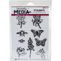 Picture of Dina Wakley Media Cling Stamps - Scribbly Flowers & Insects