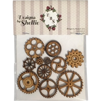 Picture of Laser Wood Engraved Embellishments - Steampunk Daze Gears