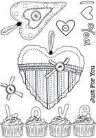 Picture of A6 Love Cupcakes Clear Stamps