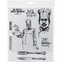 Εικόνα του Brett Weldele Cling Rubber Stamp Set - The Burly Chef