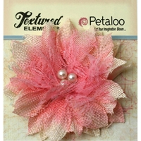 Εικόνα του Textured Elements Burlap Bird's Nest Flower - Pink
