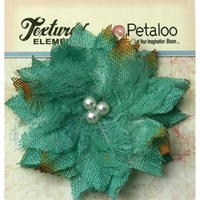 Εικόνα του Textured Elements Burlap Bird's Nest Flower - Teal