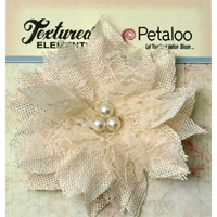 Εικόνα του Textured Elements Burlap Bird's Nest Flower - Ivory