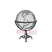 Picture of Deep Red Cling Stamp - Antique Globe
