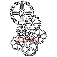 Picture of Deep Red Cling Stamp - Gears Background