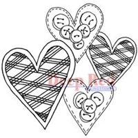 Picture of Deep Red Cling Stamp - Love Buttons
