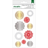 Picture of Holiday Remarks Foil Stickers: Gold, Silver & Red Doilies