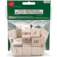 "Picture of Wood Alphabet Tiles .75"" 60/Pkg"