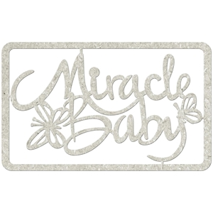 Picture of FabScraps Die-Cut Gray Chipboard Word - Miracle Baby