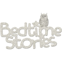 Picture of FabScraps Die-Cut Gray Chipboard Word - Bedtime Stories