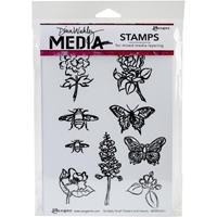 Εικόνα του Dina Wakley Media Cling Stamps - Scribbly Flowers & Insects