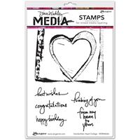 Picture of Dina Wakley Media Cling Stamps - Handwritten Heart Collage