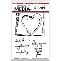 Εικόνα του Dina Wakley Media Cling Stamps - Handwritten Heart Collage