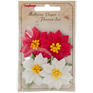 Picture of Mulberry Paper Poinsettias 4/Pkg