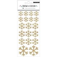 Εικόνα του Snow & Cocoa Stickers - Snowflakes Gold Glitter