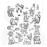 Picture of Tim Holtz Cling Mounted Stamp - Mini Cats & Dogs