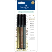 Picture of Faber-Castell Mix & Match Metallic PITT Artist Pens - Gold, Copper & Silver