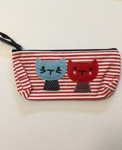 Picture of Canvas Pencil Case Cute Cat - Red
