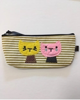 Picture of Canvas Pencil Case Cute Cat - Yellow