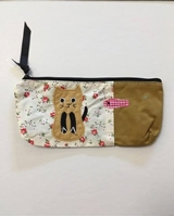 Picture of Canvas Pencil Case Cute Cat - Brown / White