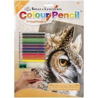 "Picture of Royal & Langnickel Color Pencil By Number Kit 8.75""X11.75"" - Sepia Owl"