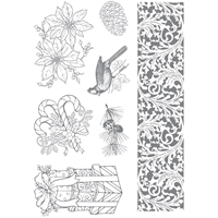 Picture of Clear Stamp Set - Cardinal And Poinsettia