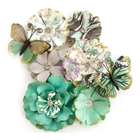 Picture of Prima Zella Teal Flowers - Butterfly Kisses