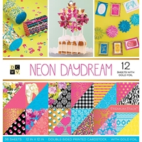 """Picture of DCWV Double-Sided Paper Stack 12""""X12""""  - Neon Daydream"""