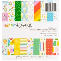 "Εικόνα του Pebbles Single-Sided Paper Pad 6""X6"" - Happy Hooray"