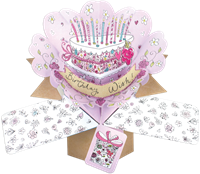 Picture of Pop Ups Greeting Cards - Cake With Candles & Flowers