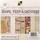 """Picture of DCWV Single-Sided Cardstock Stack 8""""X8""""  - Maps, Text & Ledgers"""