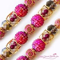 Εικόνα του Design Elements Glass Bead Strands - Pink Yarrow #1