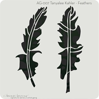 "Εικόνα του Donna Downey Artist Gang Stencils 8""X8"" - Feathers"
