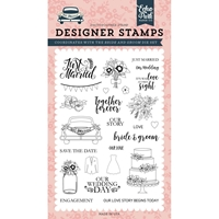 "Εικόνα του Echo Park Stamps 4""X6""  Just Married - Bride & Groom"