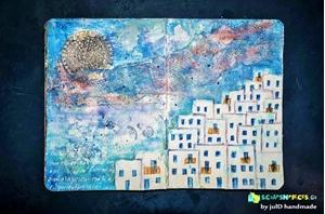 Αιγαιοπελαγίτικο τοπίο - Art Journal Spread