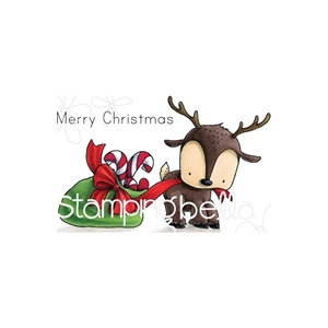 Picture of Stamping Bella Cling Stamps - Reindeer With A Gift Stuffie