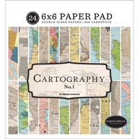 """Εικόνα του Carta Bella Double-Sided Paper Pad 6""""X6"""" - Cartography No.1"""