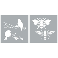 "Εικόνα του Americana Decor Stencil 8""X8"" - Bees & Birds"