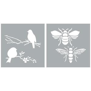 """Picture of Americana Decor Stencil 8""""X8"""" - Bees & Birds"""