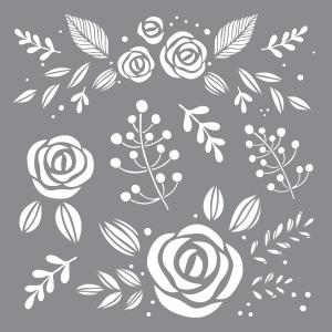 "Picture of Americana Decor Stencil 8""X8"" - Whimsical Flora"