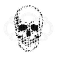 """Εικόνα του Creative Expressions 7""""X7"""" Stencil By Andy Skinner - Half Tone Skull"""
