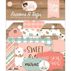 Picture of Echo Park Cardstock Ephemera - Baby Girl Frames & Tags