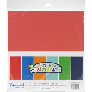 """Picture of Echo Park Double-Sided Solid Cardstock 12""""X12"""" - It's Your Birthday Boy"""