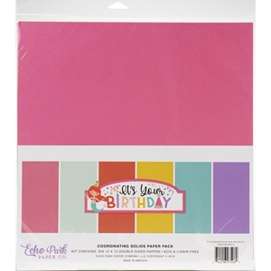 """Picture of Echo Park Double-Sided Solid Cardstock 12""""X12"""" - It's Your Birthday Girl"""