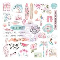 Εικόνα του Prima Marketing Surfboard  Cardstock Ephemera - Shapes, Tags, Words, Foiled Accents