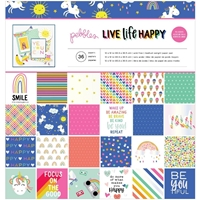 "Εικόνα του Pebbles Single-Sided Paper Pad 12""X12""  -  Live Life Happy"