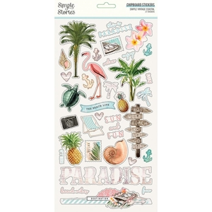 """Picture of Simple Stories Simple Vintage Coastal Chipboard Stickers 6""""X12"""""""